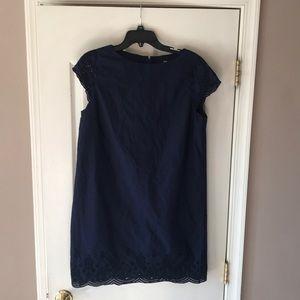 Women's uniqlo navy blue eyelet trim dress Large
